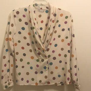 Cream Polka Dot Vintage Blouse